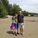 Christoph, Kaya and Noah on Elbe River Beach