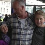 Christoph at Train Station with Kaya and Noah